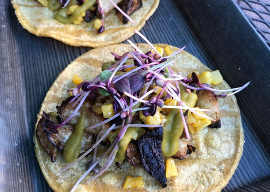 During September 2018, The DeLuxe in West Street Market in downtown Reno is featuring on some of its tacos produce from Tahoe Living Greens, one of the Northern Nevada farmers participating in the Meet Your Farmer Nevada project on Instagram.