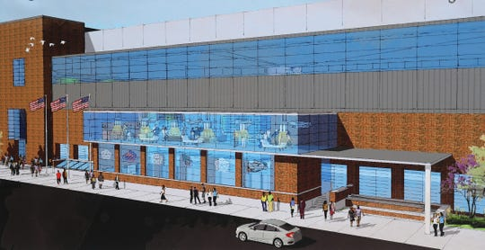 Renderings of the Exchange Boulevard side of Blue Cross Arena at the Rochester Community War Memorial. Proposed improvements include upgraded bathrooms, an expanded concession and office areas, sound and lighting improvements and additional locker room space.