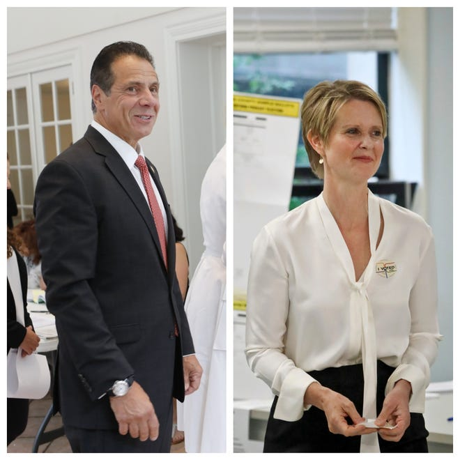 Gov. Andrew Cuomo and Cynthia Nixon cast their ballots for the New York primary on Thursday, Sept. 13, 2018.