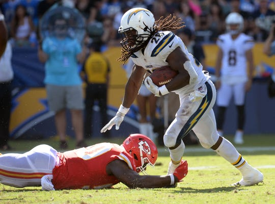 Los Angeles Chargers running back Melvin Gordon (28) runs the ball against the Kansas City Chiefs last week.