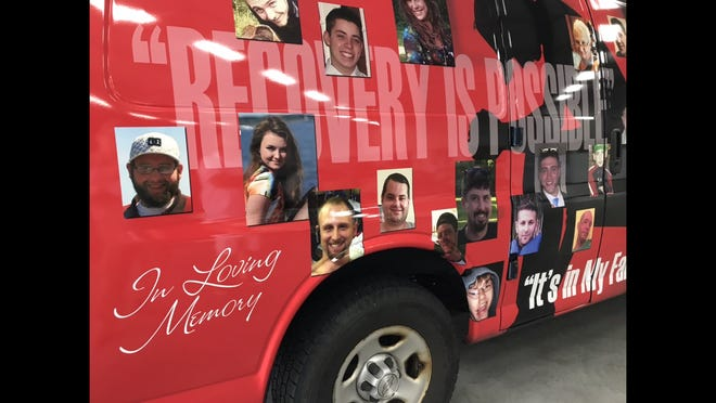 To show that people who died from opioid addiction aren't just numbers, Gates Police had a public safety van wrapped with photos of people who died from overdose. The van also carries the message that recovery is possible. (Sept. 13, 2018)