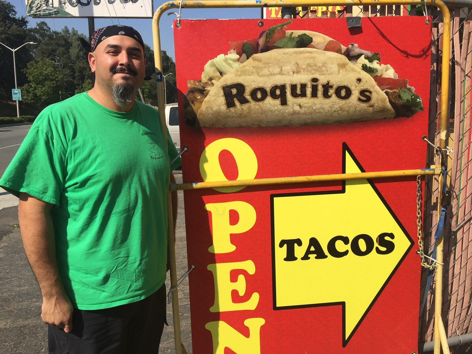 Owner Roque Carbajal outside Roquito's Taqueria in south Redding.