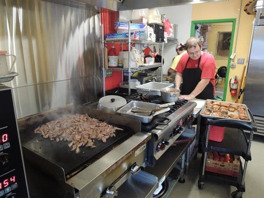 Meat on the grill at Roquito's Taqueria in south Redding.