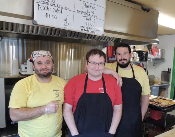 Part of the crew at Roquito's Taqueria in south Redding. Left to right: Colby Crosslin, Ryan Jump and Chris Peluso.