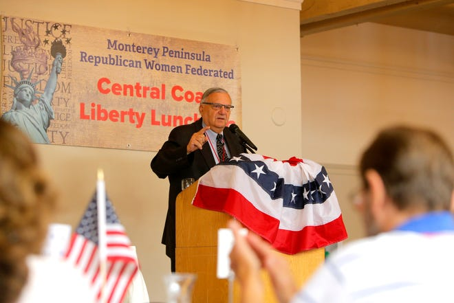 Joe Arpaio, former sheriff of Arizona's Maricopa County, attends a Monterey Peninsula Republican Women Federated luncheon in Carmel Valley as a guest speaker on Sept. 13.