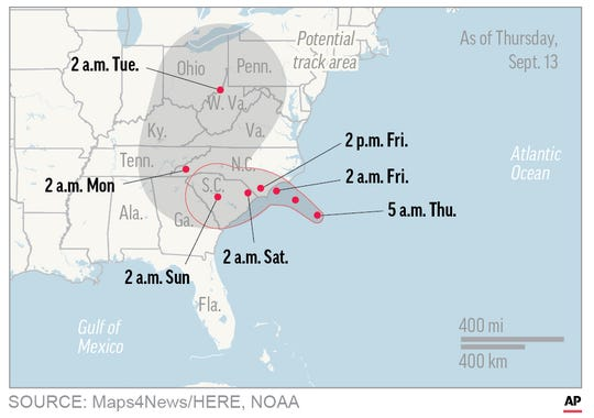 This 5 a.m. Thursday map shows probable path of Hurricane Florence.