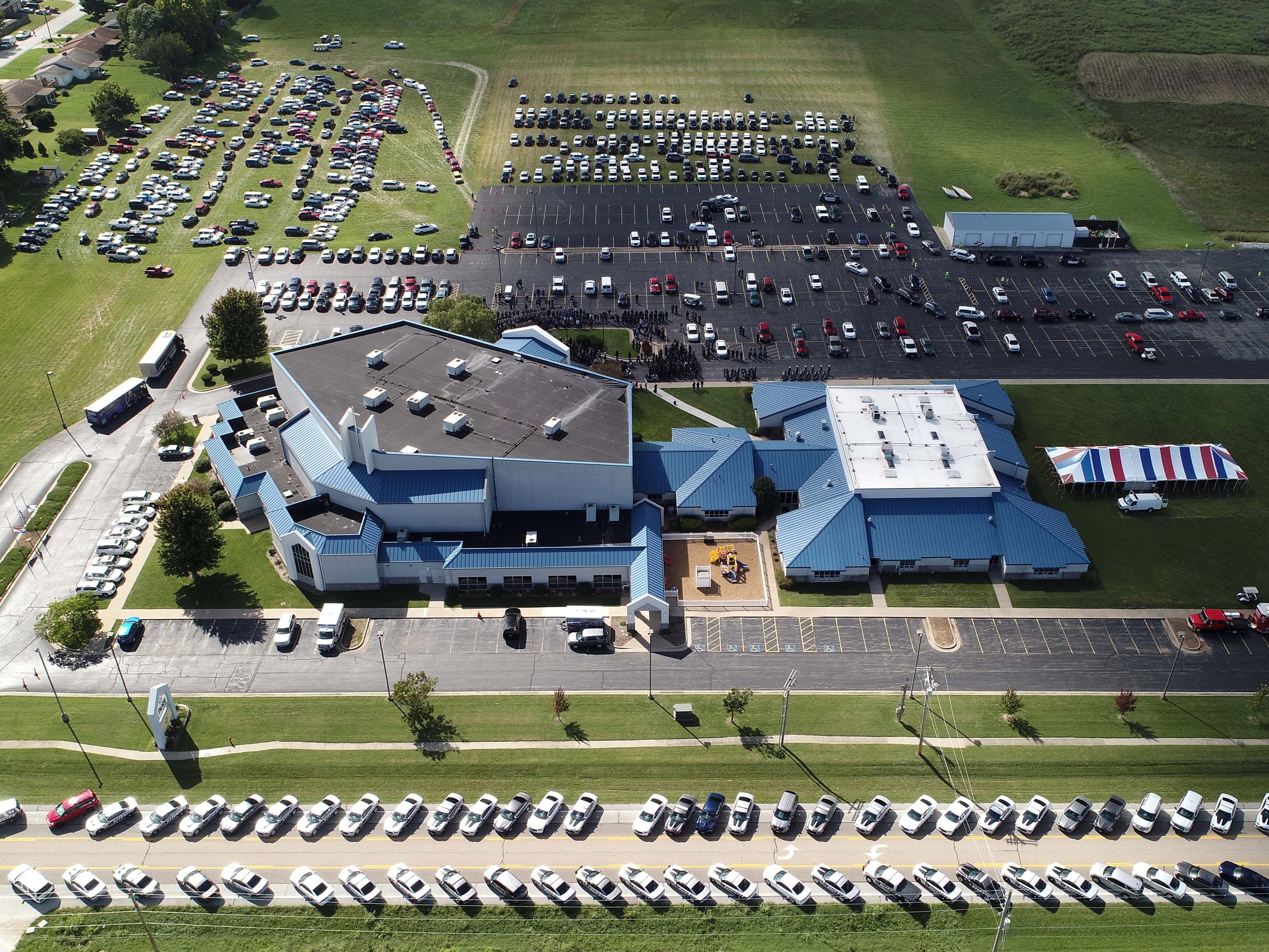 An aerial view of the church during Deputy Roberts' funeral.