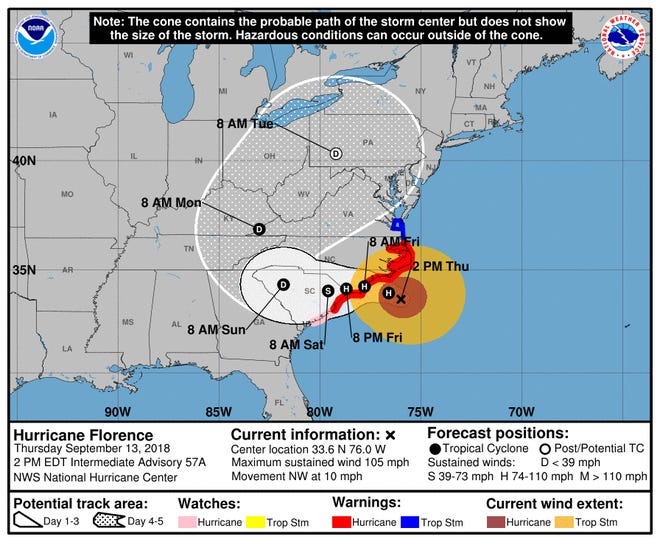 Path of Hurricane Florence as of 4 p.m. Thursday.