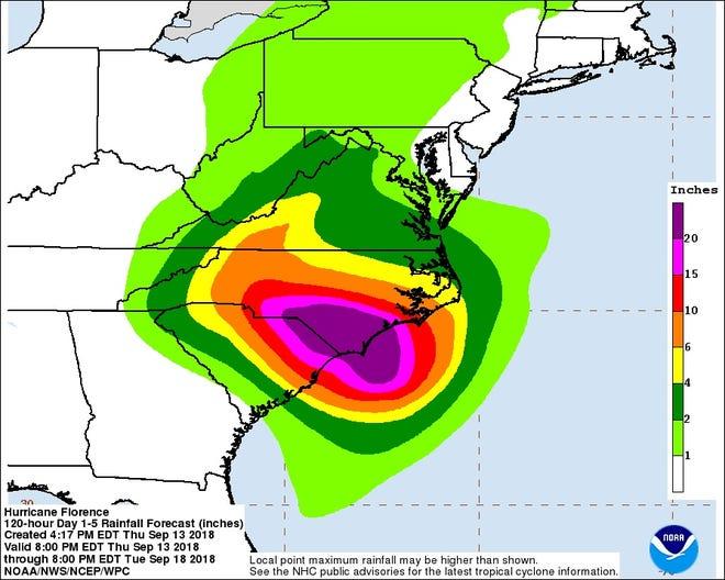 Rainfall predictions as of 4:30 p.m. Thursday.