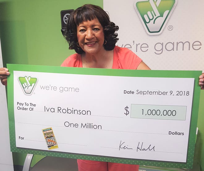 Iva Robinson, of Grottoes, wins one million dollars playing the Virginia Lottery on Sept. 9, 2018.