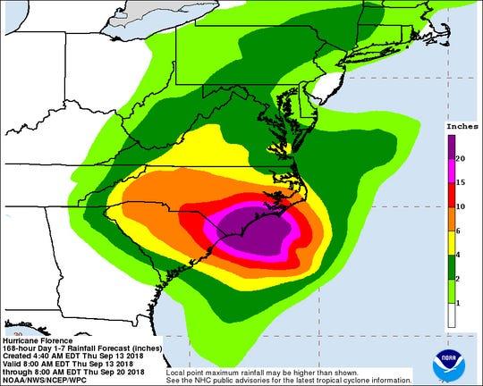 5 a.m. Thursday rainfall predictions