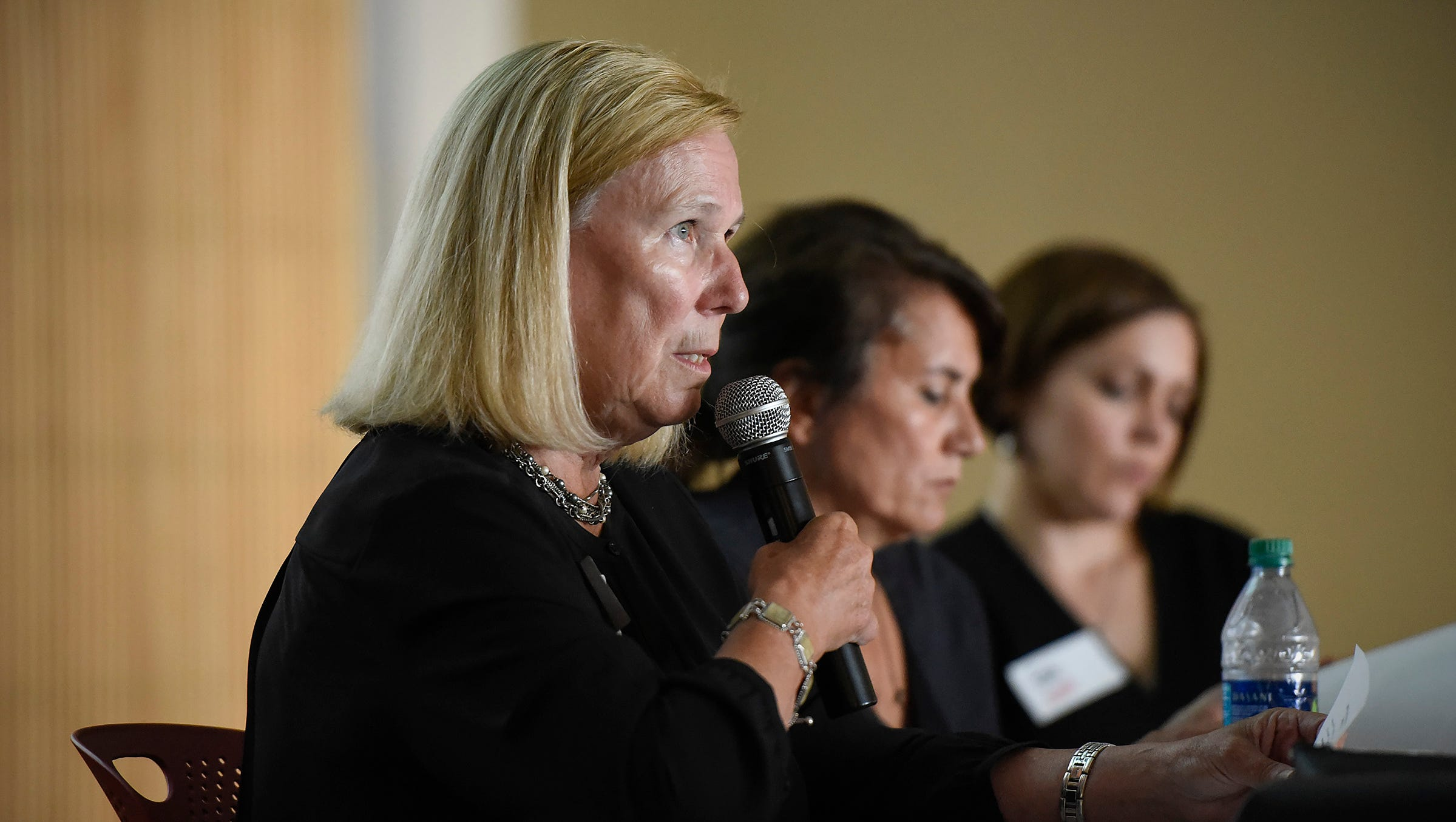 Kris Sundberg, president of Elder Voice Family Advocates, spoke during an AARP panel discussion on elder abuse legislation Wednesday, Sept. 12, at the Great River Regional Library in St. Cloud.