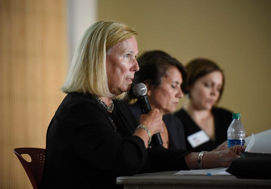 Kris Sundberg, president of Elder Voice Family Advocates, spoke during an AARP panel discussion on elder abuse legislation Wednesday, Sept. 12, at the Great River Regional Library in St. Cloud.