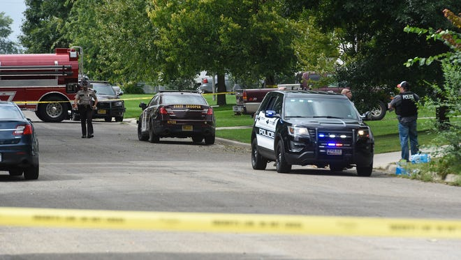 Several law enforcement agencies responded to the scene where a Stearns County deputy was shot with an arrow Thursday, Sept. 13, in Sauk Centre.