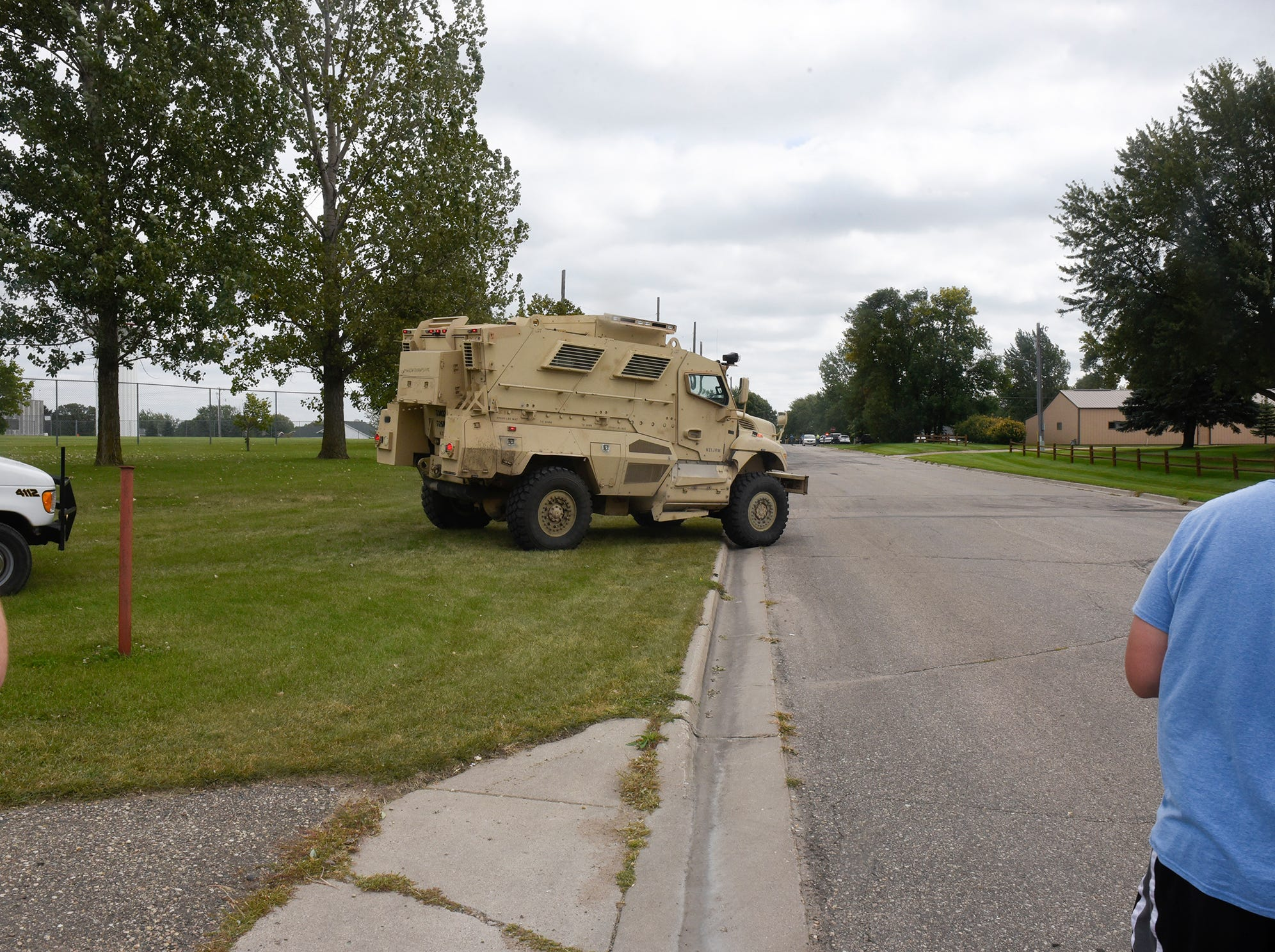 An armored vehicle approaches the scene of a shooting Thursday, Sept. 13, in Sauk Centre.