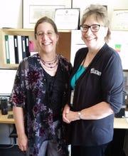 Karen Pundsack and Peggy Aschenbrenner in Karen's GRRL office.
