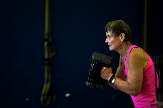 Betty Lou Sweeney works out at Forever Fit in Plover, Wis., September 12, 2018.