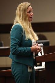 Prosecutor Georgia Cappleman giving an opening statement for the Hoyt Birge murder trial at the Leon County Courthouse on September 13, 2018.