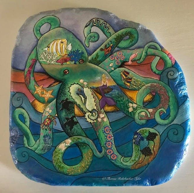 """The Wonderful World of Sea Life"" by Theresa K. Tyler on a hand-painted original artwork on santorini stone."