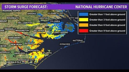Hurricane Florence storm surge forecast 5 a.m. Sept. 13, 2018
