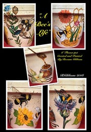 """A Bee's Life"" by Roxane Gibbons on hand-painted flower pots."