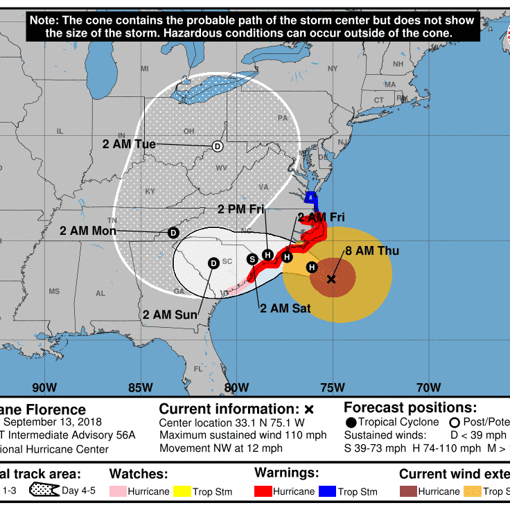 Hurricane Florence slows to a Category 2, and its remnants may swing north