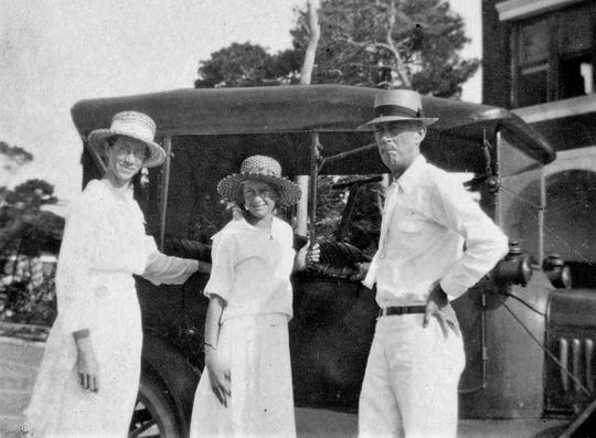 The Coon family in 1920 – from left, Abby, Marjorie and George