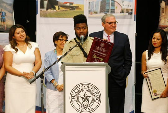 Recording artist and El Pasoan Khalid speaks Thursday afternoon at the El Paso convention center after being presented the Key to the City by El Paso Mayor Dee Margo, shortly after Margo gave his first State of the City address.