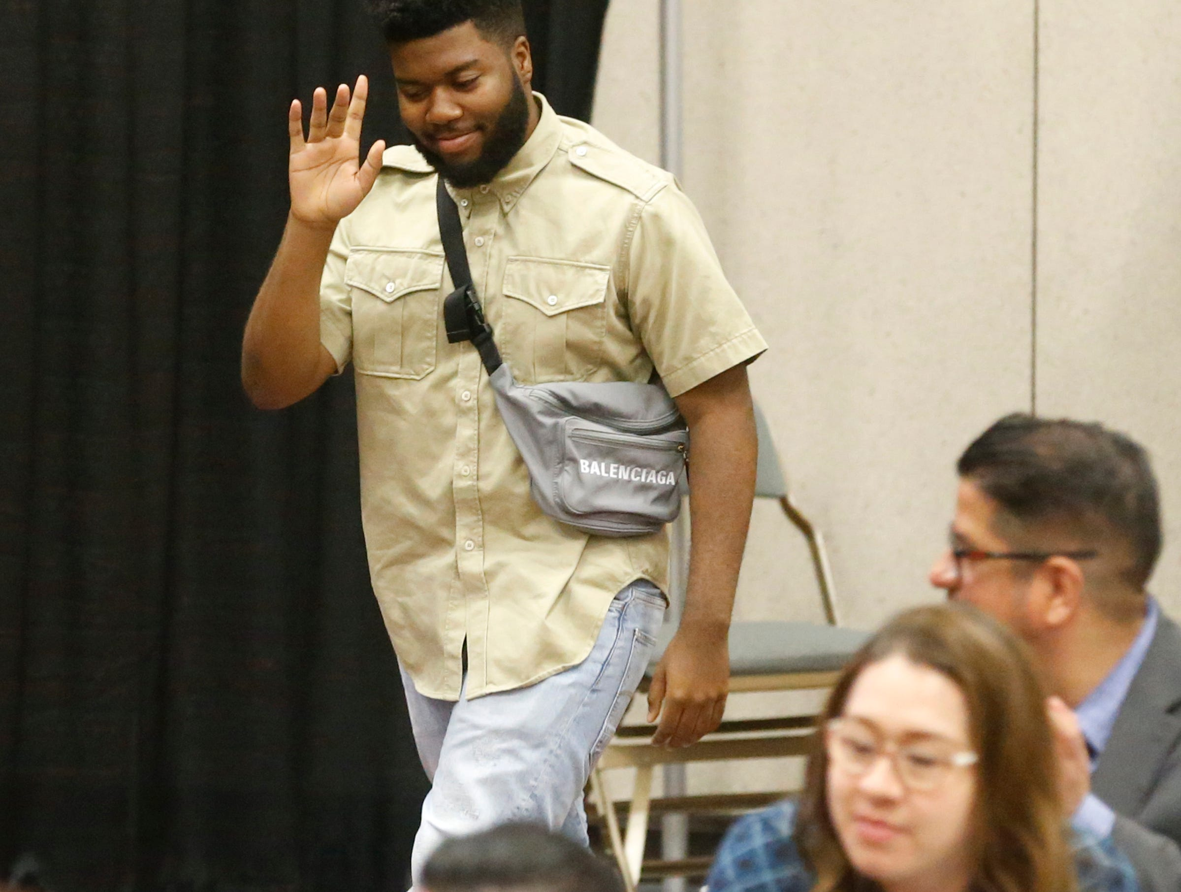 Khalid makes his way to the stage after recognized by El Paso Mayor Dee Margo where Margo presented him with the Key to the City during the State of the City luncheon at the El Paso Convention Center.