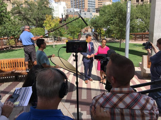 Co-anchors Erik Elken and Estela Casas were doing promo shoots in August.