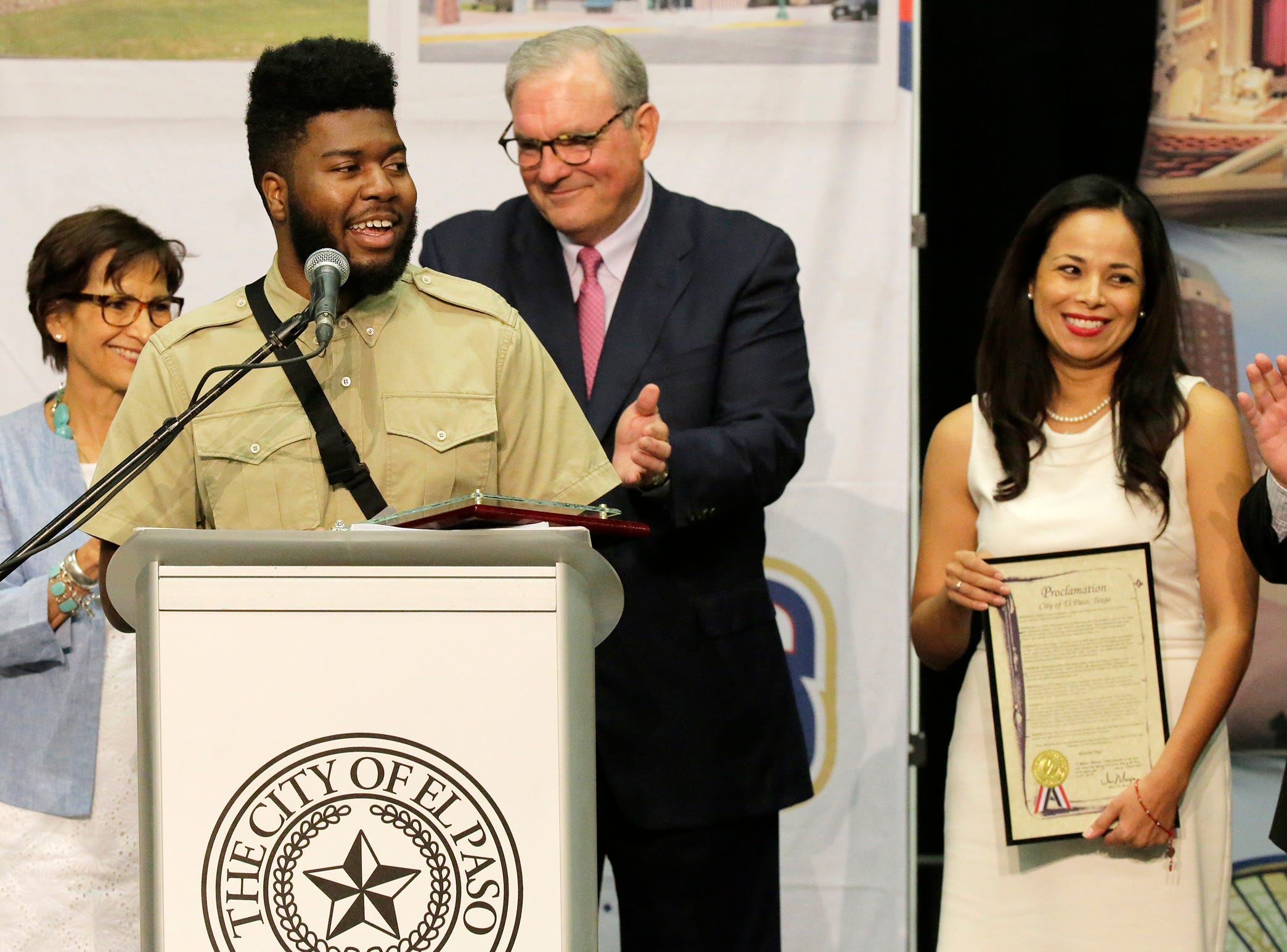 Recording artist and El Pasoan Khalid addresses the crowd at the El Paso Convention Center Thursday afternoon after being presented the Key to the City by El Paso Mayor Dee Margo and member of city council, shortly after Margo gave his first State of the City address.