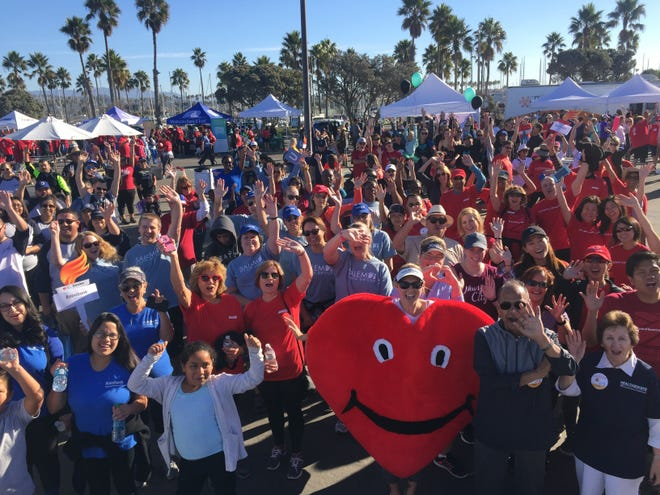 A scene from last year's heart walk to benefit the American Heart Association. This year's Ventura County Heart & Stroke Walk will take place on Saturday.
