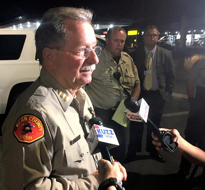 Kern County Sheriff Donny Youngblood talks to the media Wednesday in southeast Bakersfield, where authorities say a gunman killed multiple people.