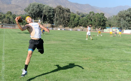 Nordhoff High wide receiver Colby Stevens makes a one-handed catch during Wednesday's practice. The 3-1 Rangers host unbeaten Santa Paula (4-0) in a Citrus Coast League opener Friday night.