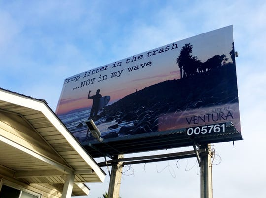 Critics say this billboard along Ventura Avenue, put up by the city of Ventura, sends sends a message that the beach is for white people.