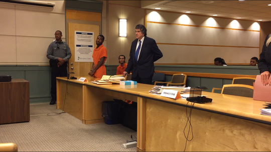 Zahmere McKoy, accused in the shooting death of a Bridgeton girl, was in Cumberland County Superior Court for a detention hearing. Defense attorney Terry Stomel, to his left, joined the case last week. The hearing was adjourned until next week.