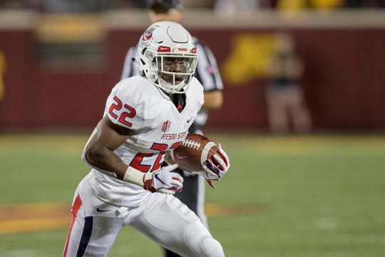 Sep 8, 2018; Minneapolis, MN, USA; Fresno State Bulldogs running back Jordan Mims (22) rushes with the ball in the second half against the Minnesota Golden Gophers at TCF Bank Stadium. Mandatory Credit: Jesse Johnson-USA TODAY Sports