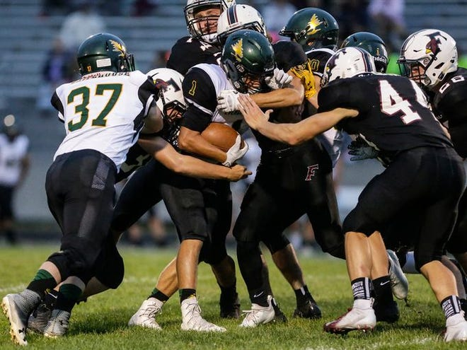 D.C. Everest's Jager Reissmann, center, rushed for 100 yards and a touchdown as the Evergreens got their first win of the season last week. Everest faces Wausau West on Friday for a Valley Football Association-West matchup.
