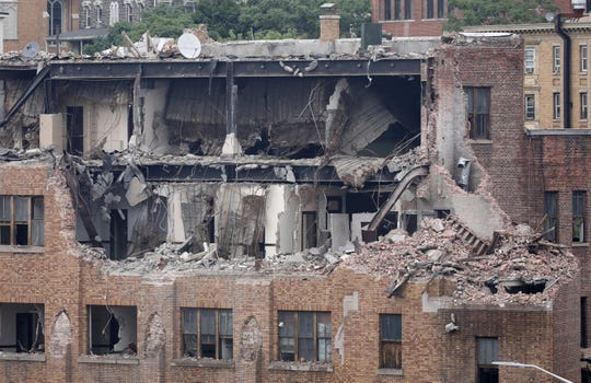 Work has begun on demolishing the old Yonkers Fire Department headquarters building on New School Street, as seen Sept. 13, 2018.  The building was condemned and evacuated in 2015.