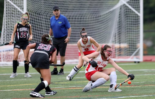 Suzy Paul of Fox Lane blocks a shot from Scarsdale in the second-half of their field hockey game at Fox Lane High School Sept. 13, 2018 in Bedford. Scarsdale won, 6-1.