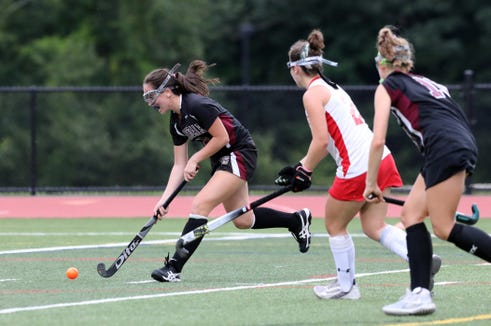Elizabeth Scarsella of Scarsdale moves forward against Fox Lane in the second-half of their field hockey game at Fox Lane High School Sept. 13, 2018 in Bedford. Scarsdale won, 6-1.