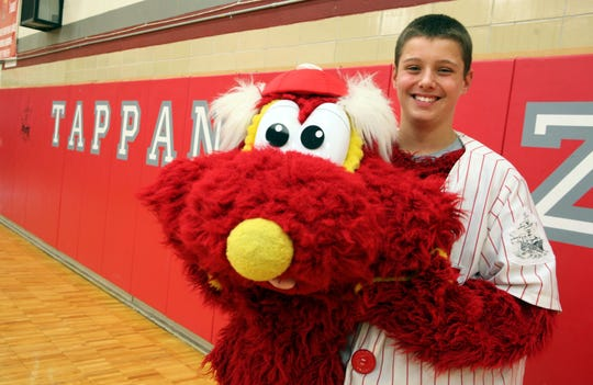 Sophomore Chris Stanford, 14, who plays ZEE, the 7-foot-tall Tappan Zee mascot, is photographed Oct. 10, 2013 at Tappan Zee High School in Orangeburg. ( Tania Savayan / The Journal News )