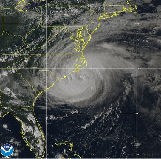 Hurricane Florence inches closer to the coast on Thursday, as seen in this NOAA satellite image.