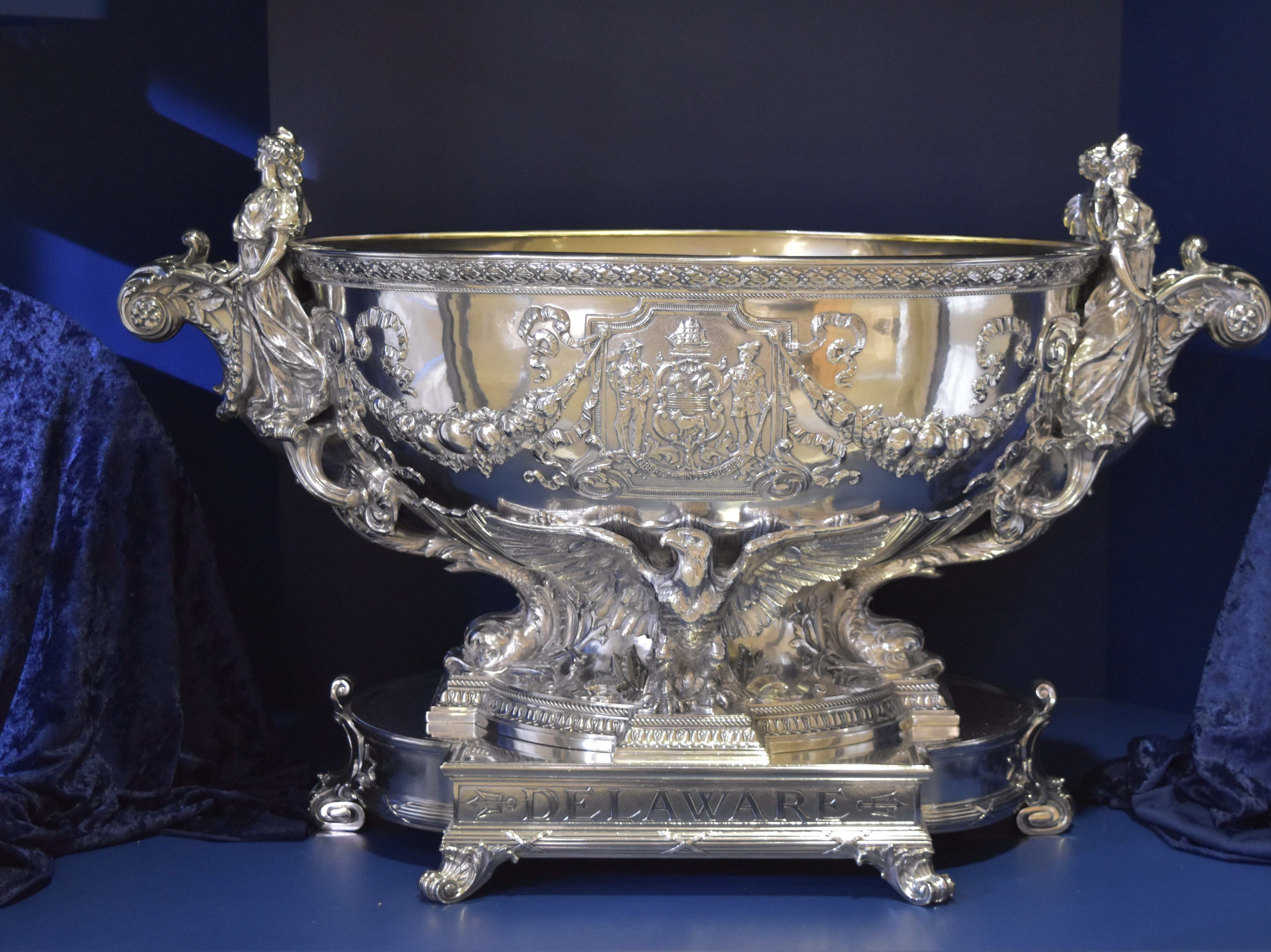 Admire the 22 pieces of Delaware silver gifted by our citizens to the U.S.S. Delaware battleship in 1910 at the Delaware Public Archives in Dover. A public subscription program raised $10,000 for the gift.  archives.delaware.gov