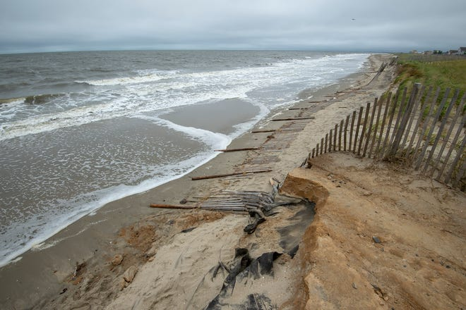 View of the damage to the cross overs leading to the beach at Broadkill Beach.