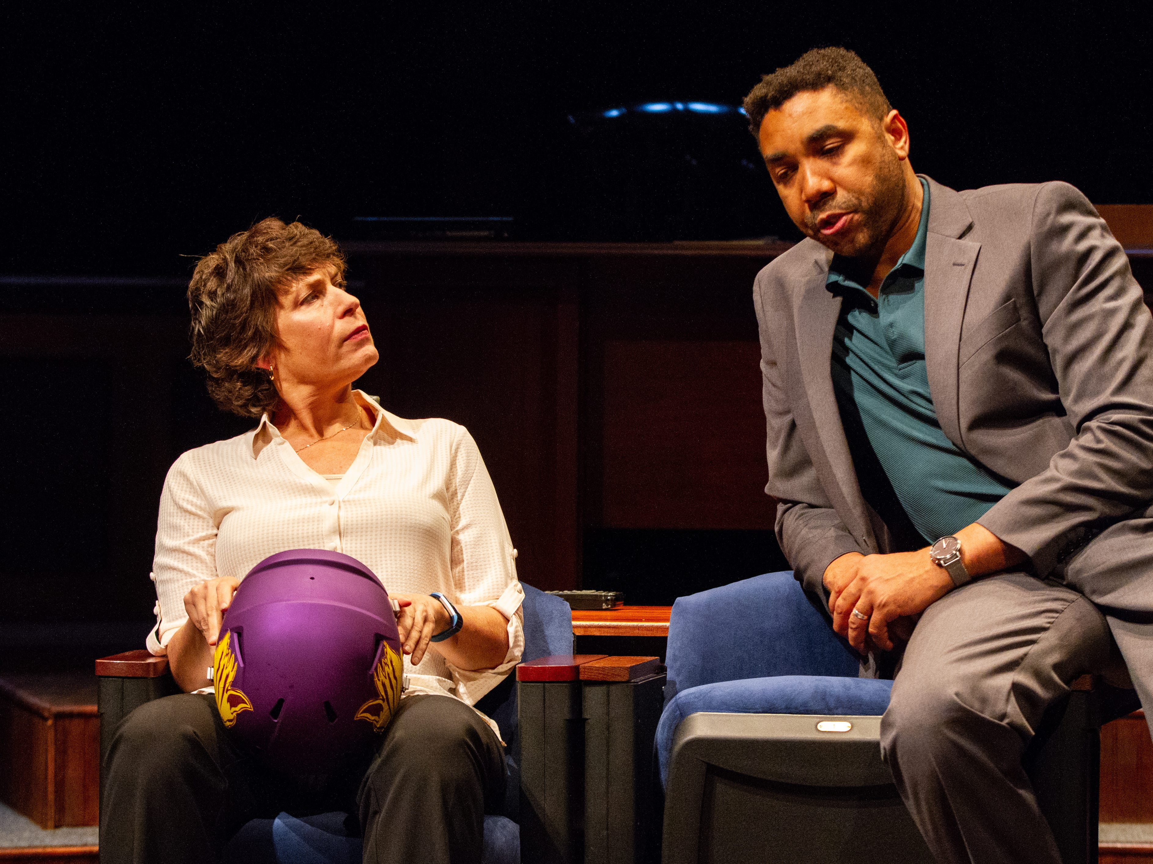 "Catharine K. Slusar, left, and Edward O'Blenis start in Delaware Theatre Company's ""Sanctions,"" the first play in the theater's 40th anniversary season."