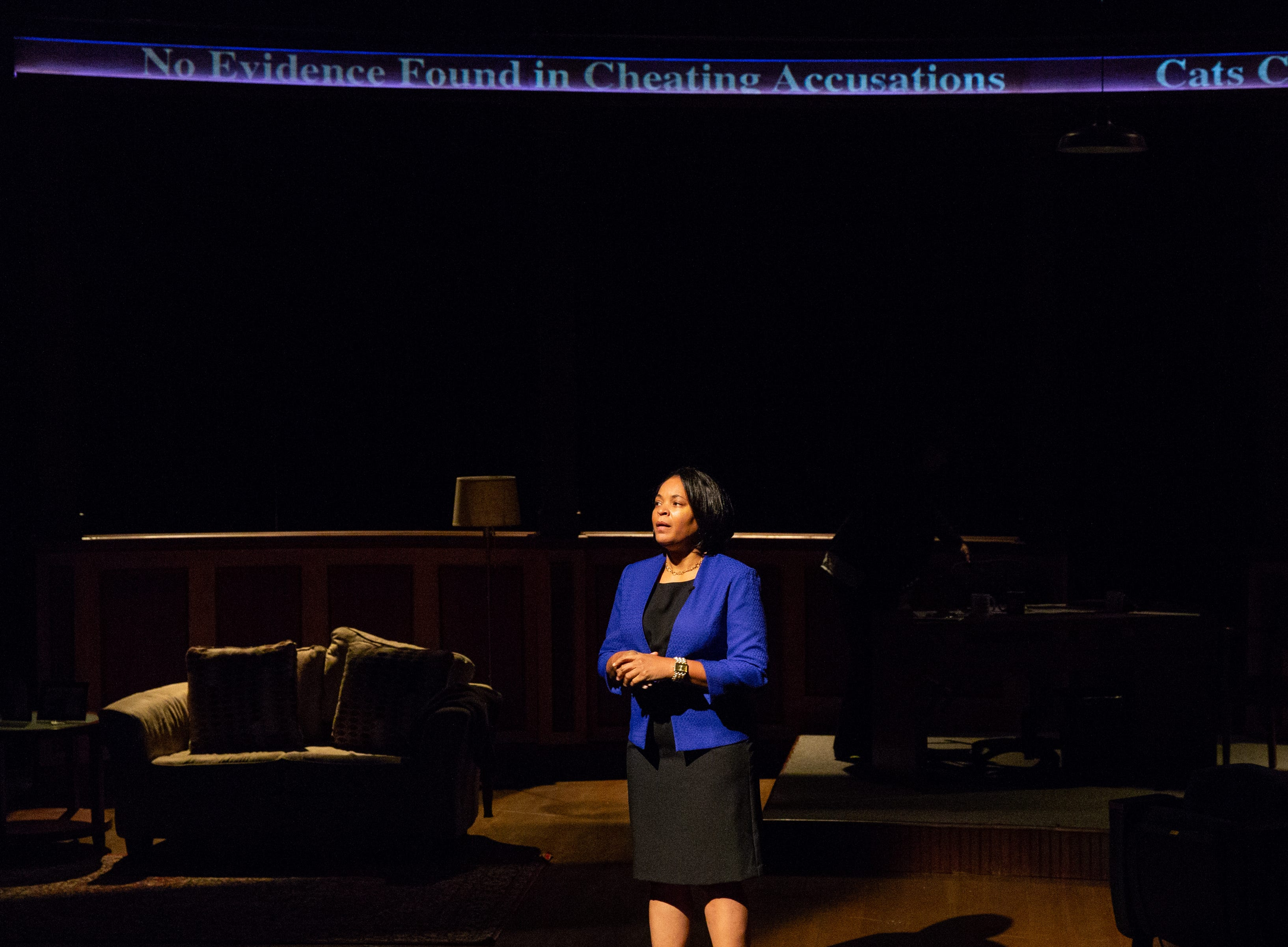 "Kimberly S. Fairbanks stars in Delaware Theatre Company's premiere production of ""Sanctions,"" a look at the issues revolving around college football programs."