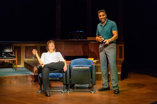 """Catharine K. Slusar, left, and Edward O'Blenis star in Delaware Theatre Company's premiere production of """"Sanctions"""" by Bruce Graham."""