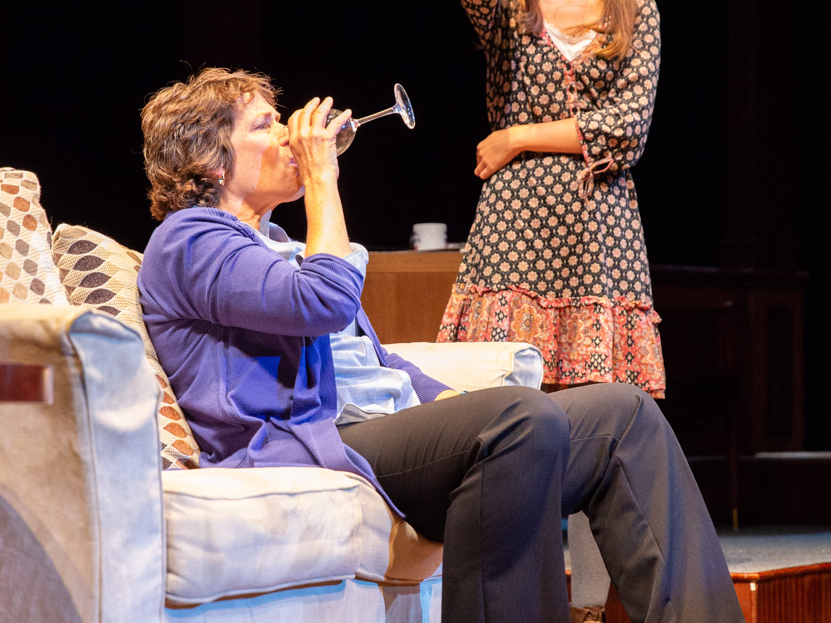 "Catharine K. Slusar, left, and Susanne Collins star in Delaware Theatre Company's premier production of ""Sanctions,"" which looks at issues stemming from university football programs."