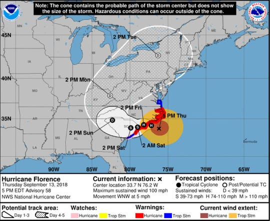 Hurricane Florence's impact can be felt along the coast on Thursday. From there, the storm will slam the Carolinas before gradually weakening.